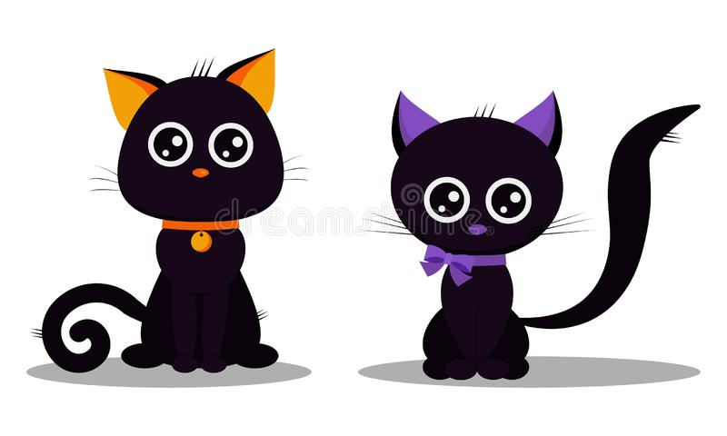 Ευτυχές σύνολο αποκριών χαριτωμένων μαύρων γατών που απομονώνεται στο άσπρο υπόβαθρο ελεύθερη απεικόνιση δικαιώματος