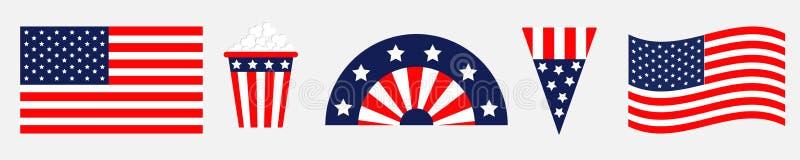 Ευτυχές σύνολο εικονιδίων ημέρας της ανεξαρτησίας Ηνωμένες Πολιτείες της Αμερικής 4ος του Ιουλίου Κυματίζοντας, διασχισμένη αμερι ελεύθερη απεικόνιση δικαιώματος