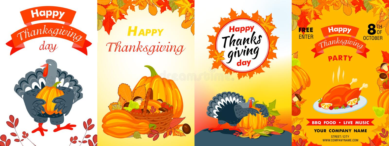 Ευτυχές σύνολο εμβλημάτων ημέρας των ευχαριστιών, ύφος κινούμενων σχεδίων ελεύθερη απεικόνιση δικαιώματος
