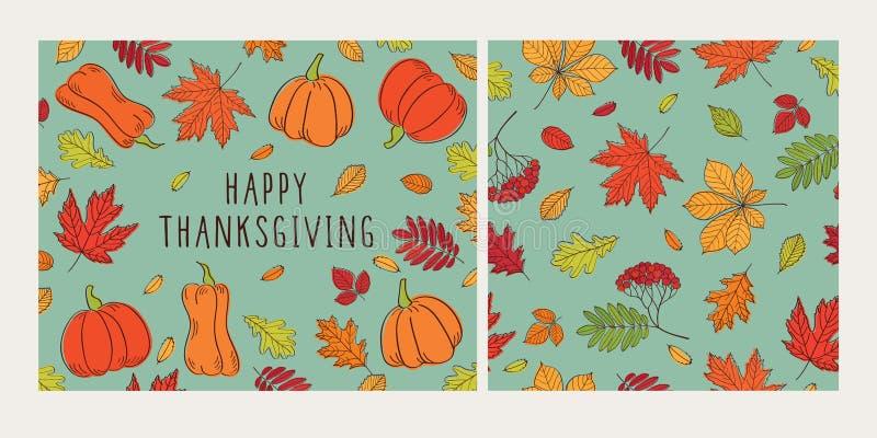 Ευτυχές σύνολο ημέρας των ευχαριστιών Ευχετήρια κάρτα και άνευ ραφής σχέδιο με τα φύλλα και τις κολοκύθες φθινοπώρου διανυσματική απεικόνιση