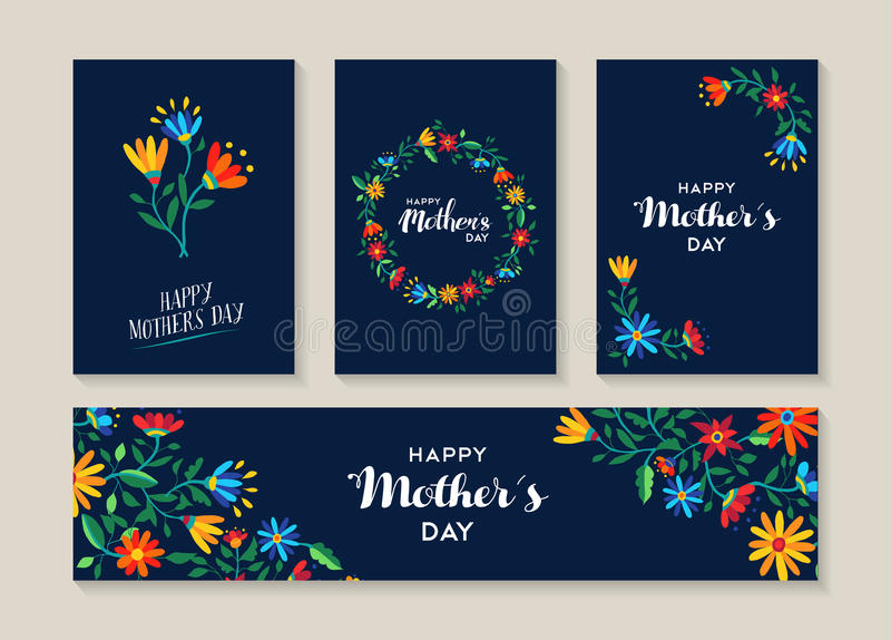 Ευτυχές σύνολο ημέρας μητέρων ετικετών και καρτών λουλουδιών διανυσματική απεικόνιση