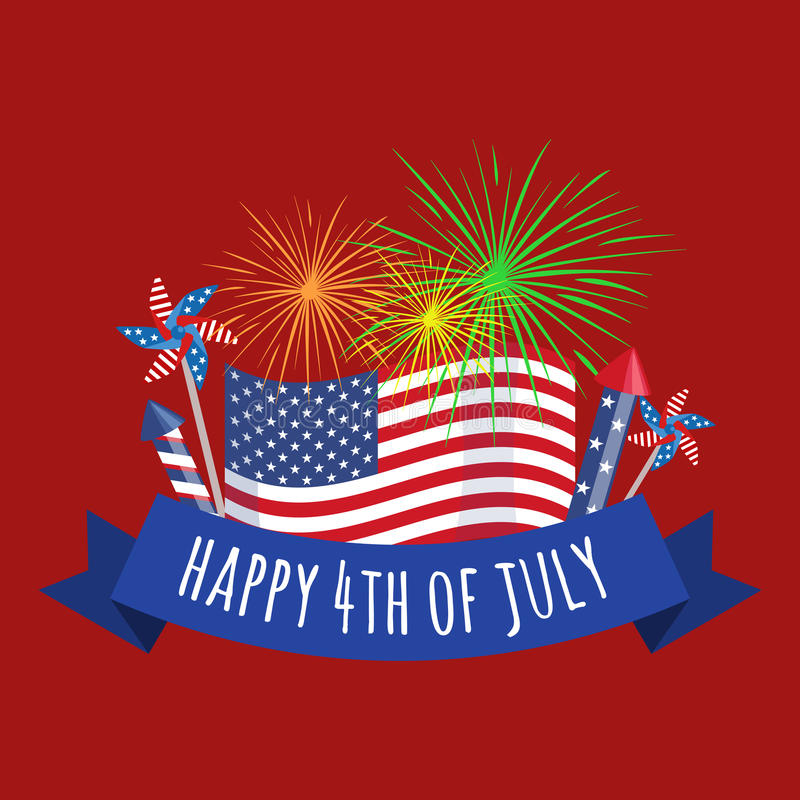 Ευτυχές τέταρτο Ιουλίου, διανυσματικό της illustraionης σχεδίου ημέρας της ανεξαρτησίας ελεύθερη απεικόνιση δικαιώματος