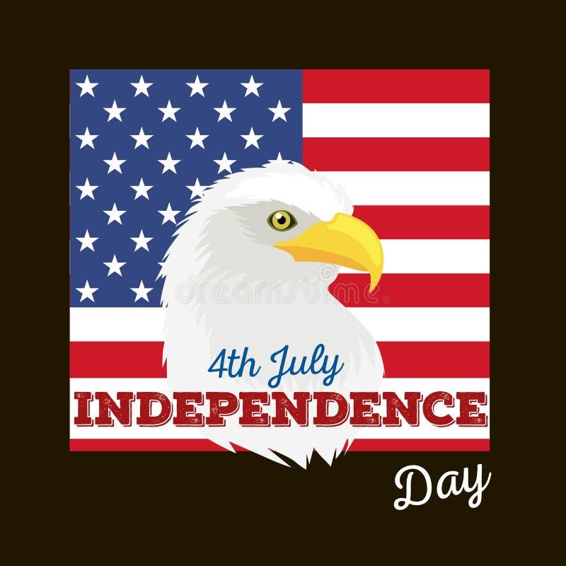 Ευτυχές τέταρτο Ιουλίου, διανυσματικό της illustraionης σχεδίου ημέρας της ανεξαρτησίας απεικόνιση αποθεμάτων