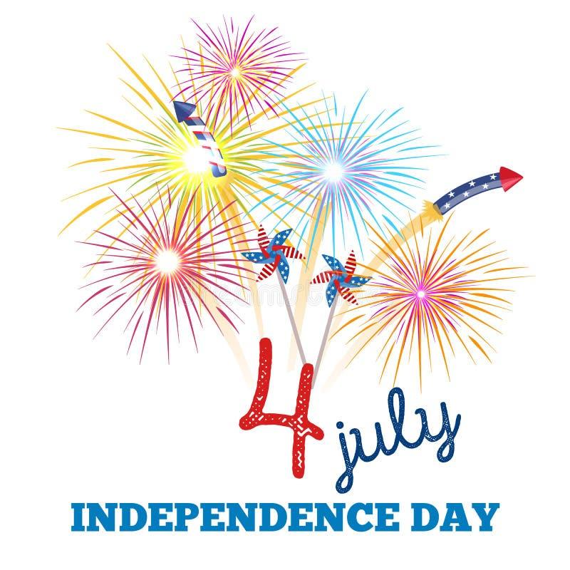 Ευτυχές τέταρτο Ιουλίου, της illustraionης σχεδίου ημέρας της ανεξαρτησίας ελεύθερη απεικόνιση δικαιώματος