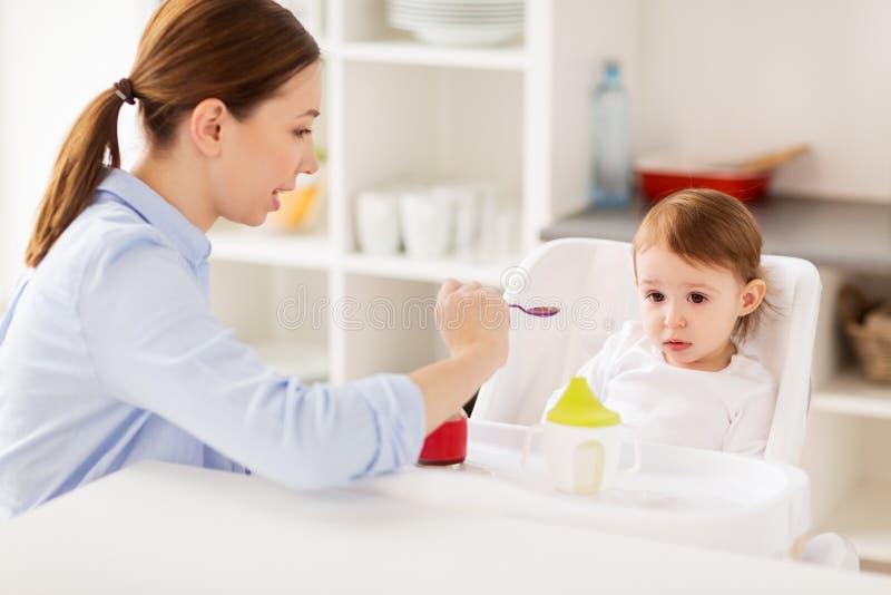 Ευτυχές ταΐζοντας μωρό μητέρων με τον πουρέ στο σπίτι στοκ φωτογραφίες