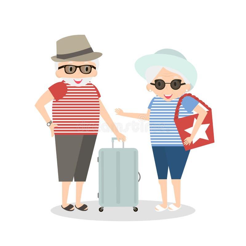 Ευτυχές ταξίδι πρεσβυτέρων Γιαγιά και παππούς στο ταξίδι διανυσματική απεικόνιση