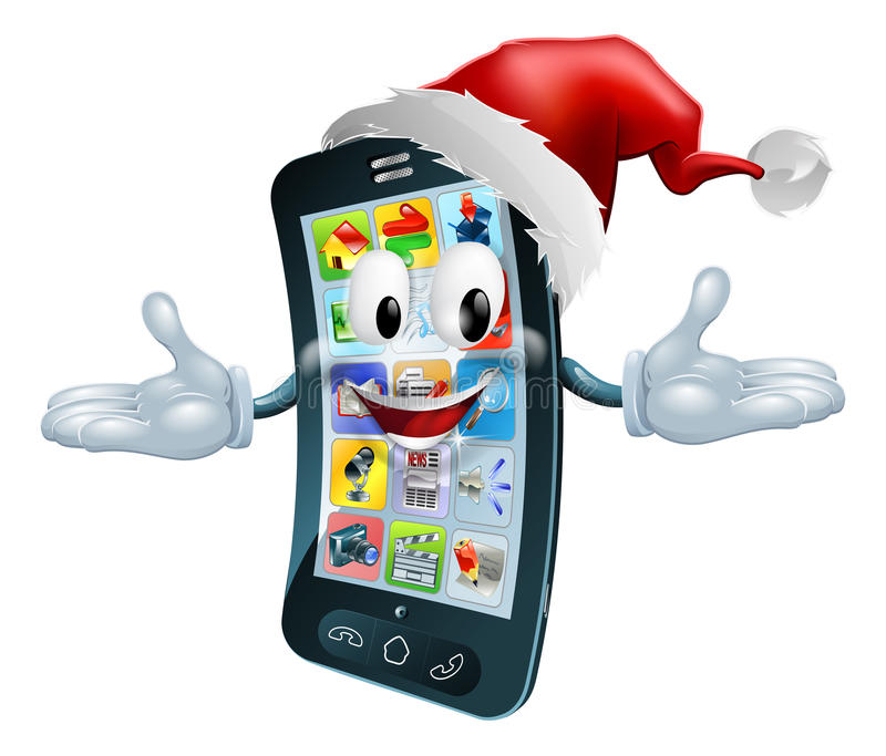 Ευτυχές τηλέφωνο κυττάρων Χριστουγέννων διανυσματική απεικόνιση