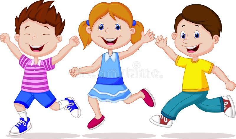 Ευτυχές τρέξιμο κινούμενων σχεδίων παιδιών διανυσματική απεικόνιση