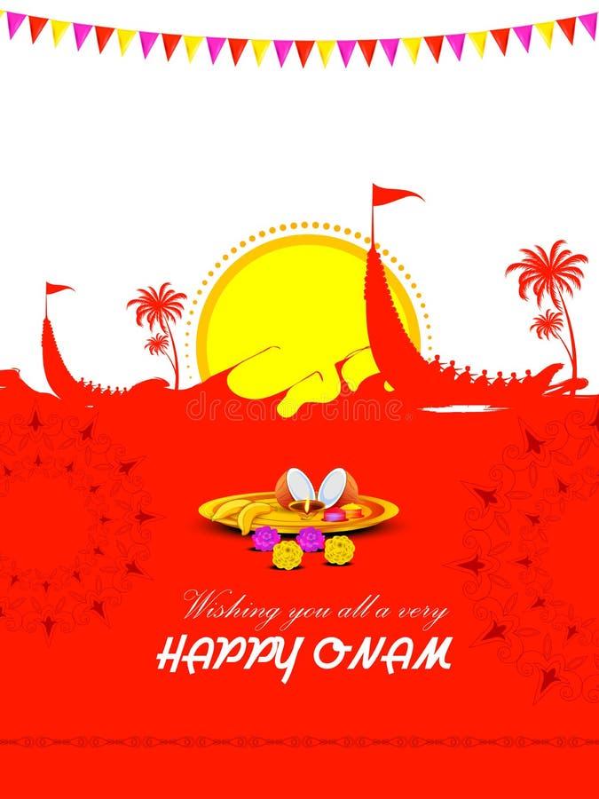 Ευτυχές υπόβαθρο διαφημίσεων πώλησης αγορών Onam μεγάλο για το φεστιβάλ της νότιας Ινδίας Κεράλα απεικόνιση αποθεμάτων