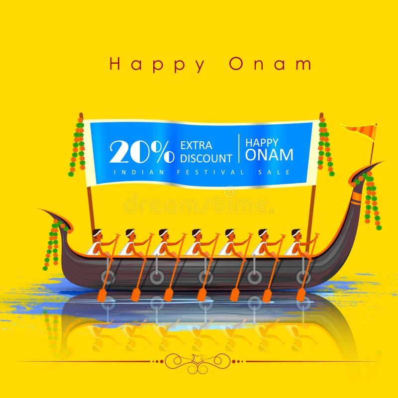 Ευτυχές υπόβαθρο διαφημίσεων πώλησης αγορών Onam μεγάλο για το φεστιβάλ της νότιας Ινδίας Κεράλα διανυσματική απεικόνιση