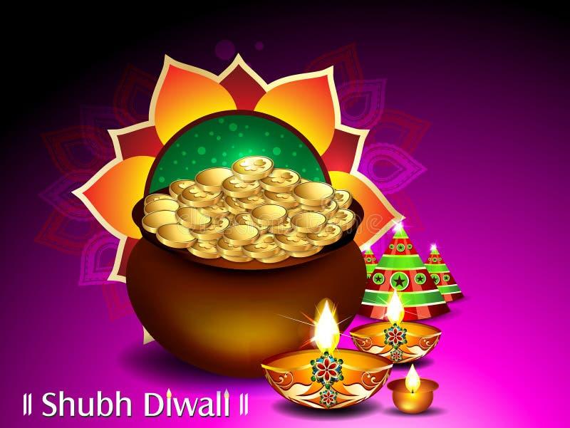 Ευτυχές υπόβαθρο επιθυμίας Diwali και Dhanteras ελεύθερη απεικόνιση δικαιώματος
