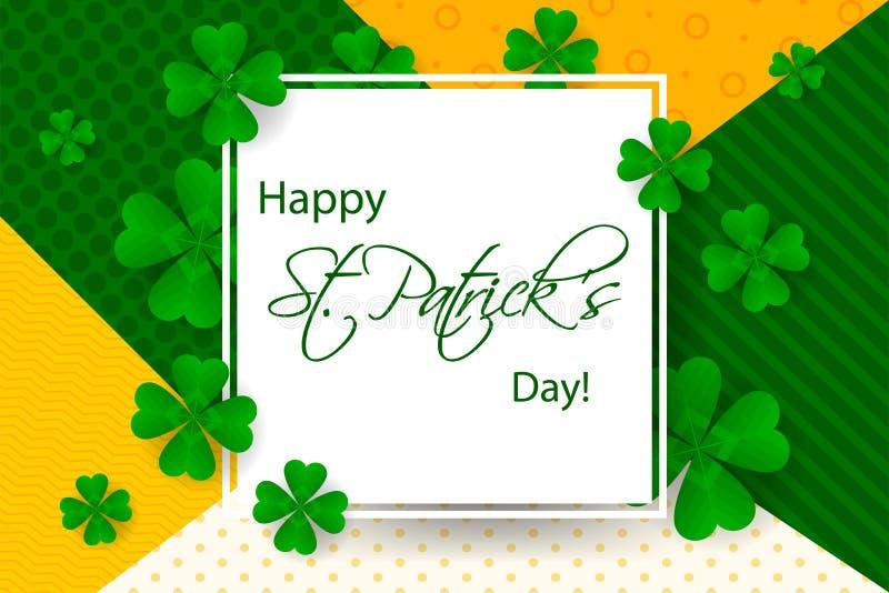 Ευτυχές υπόβαθρο ημέρας Αγίου Πάτρικ ` s, ευχετήρια κάρτα με το πράσινο α ελεύθερη απεικόνιση δικαιώματος