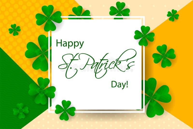 Ευτυχές υπόβαθρο ημέρας Αγίου Πάτρικ ` s, ευχετήρια κάρτα με το πράσινο α διανυσματική απεικόνιση