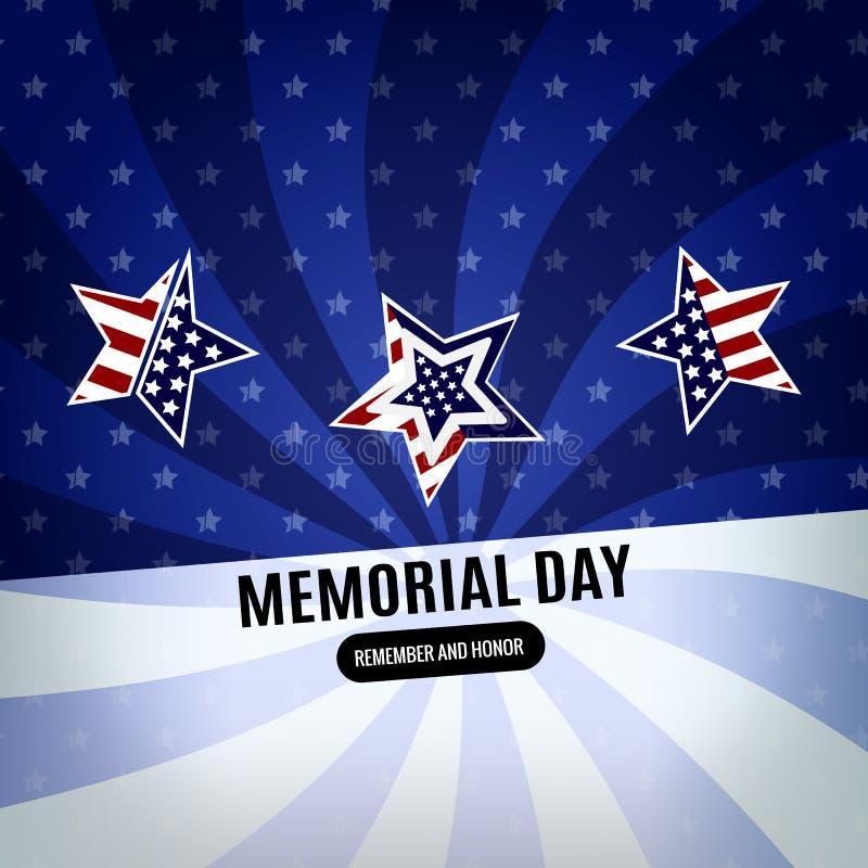 Ευτυχές υπόβαθρο ημέρας μνήμης Αφηρημένο έμβλημα σημαιών με τα αστέρια r στοκ φωτογραφία