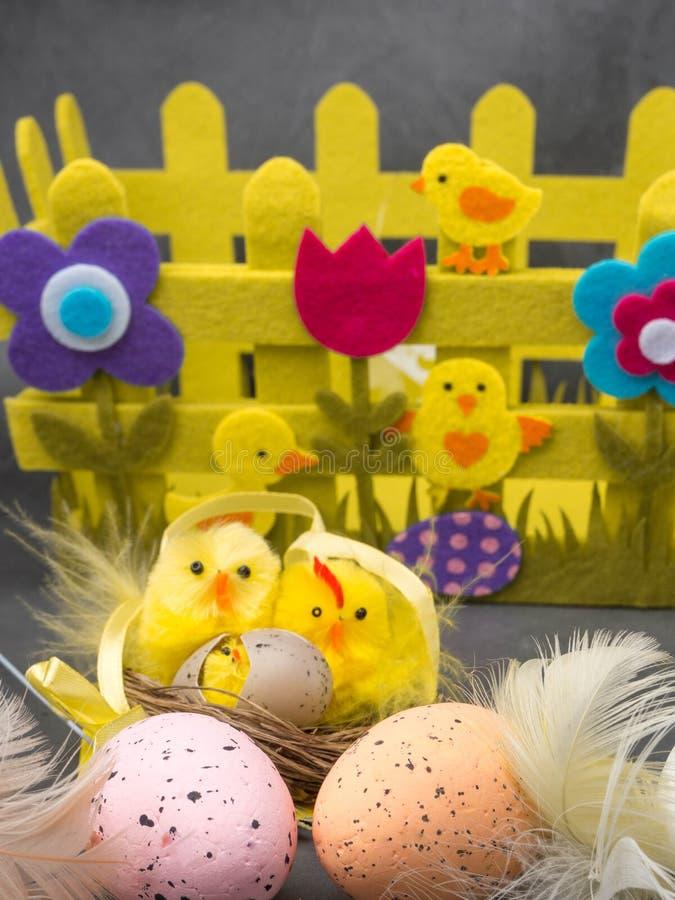 Ευτυχές υπόβαθρο Πάσχας Αυγά Πάσχας και κίτρινα αυγά και κοτόπουλο νεοσσών ως σύμβολο Πάσχας, χαιρετισμοί στοκ φωτογραφίες με δικαίωμα ελεύθερης χρήσης