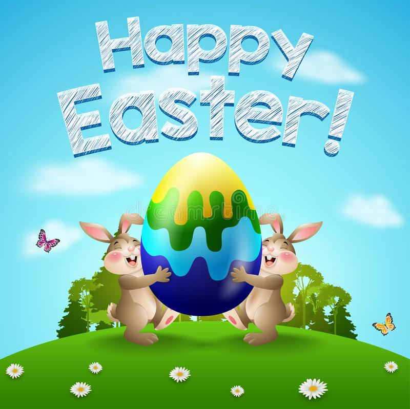 Ευτυχές υπόβαθρο Πάσχας με δύο κουνέλια και αυγό Λαγουδάκια Πάσχας που κρατούν έναν γίγαντα αυγών στον κήπο απεικόνιση αποθεμάτων