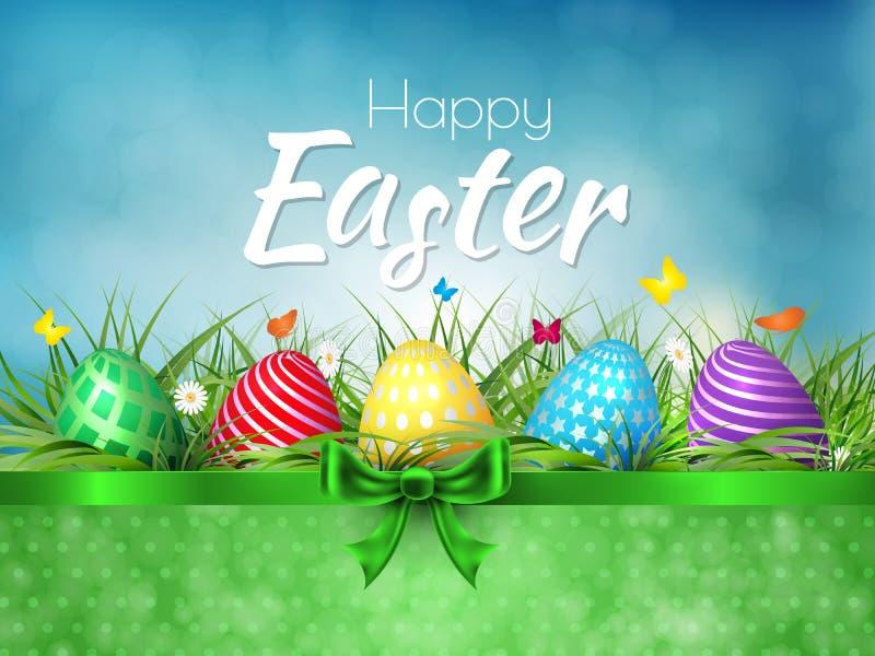 Ευτυχές υπόβαθρο Πάσχας με τα ρεαλιστικά αυγά Πάσχας Πάσχα απεικόνιση αποθεμάτων