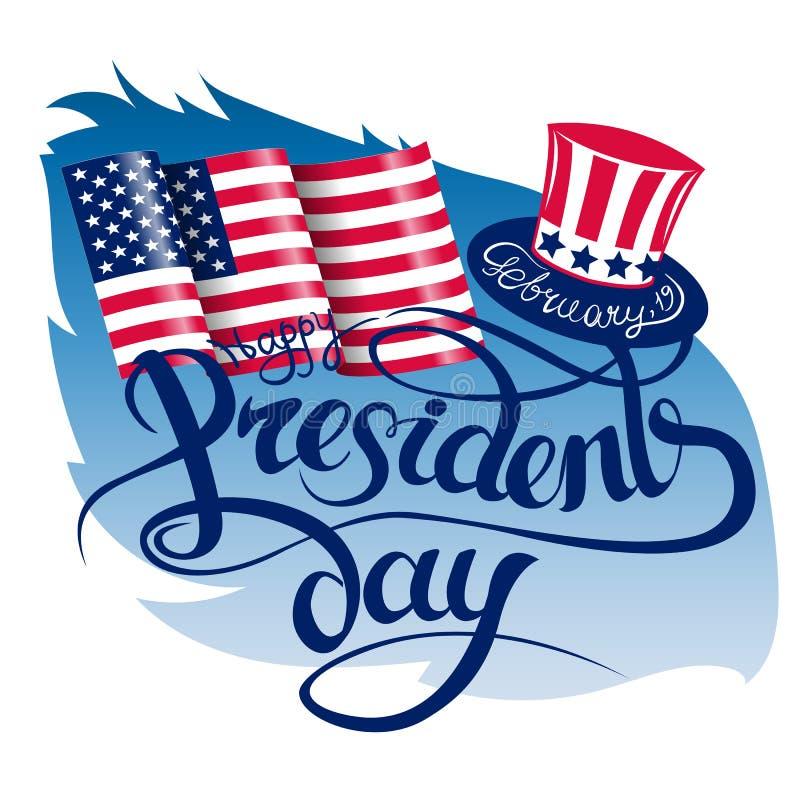 Ευτυχές υπόβαθρο σχεδίου ημέρας Προέδρου s με το καπέλο θείων Σαμ Χειρόγραφη εγγραφή ελεύθερη απεικόνιση δικαιώματος