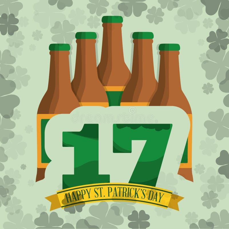 ευτυχές υπόβαθρο τριφυλλιού μπύρας μπουκαλιών ημέρας του ST patricks διανυσματική απεικόνιση