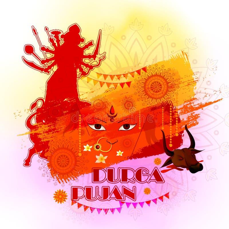 Ευτυχές υπόβαθρο φεστιβάλ Durga Puja για την Ινδία διακοπές Dussehra διανυσματική απεικόνιση