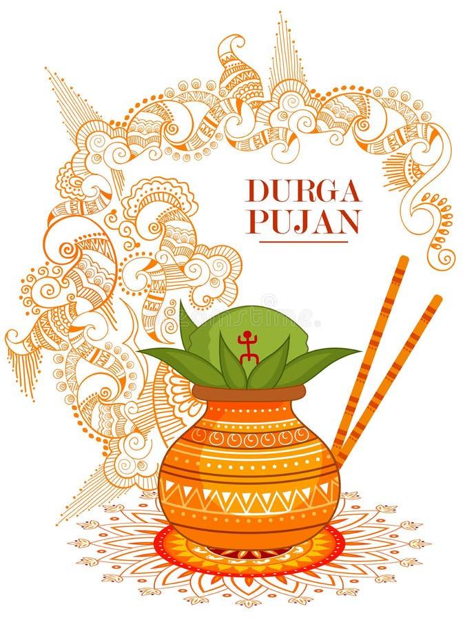 Ευτυχές υπόβαθρο φεστιβάλ Durga Puja για την Ινδία διακοπές Dussehra απεικόνιση αποθεμάτων