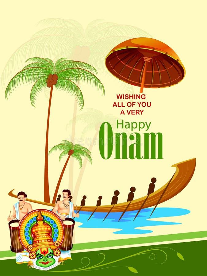 Ευτυχές υπόβαθρο φεστιβάλ Onam διανυσματική απεικόνιση