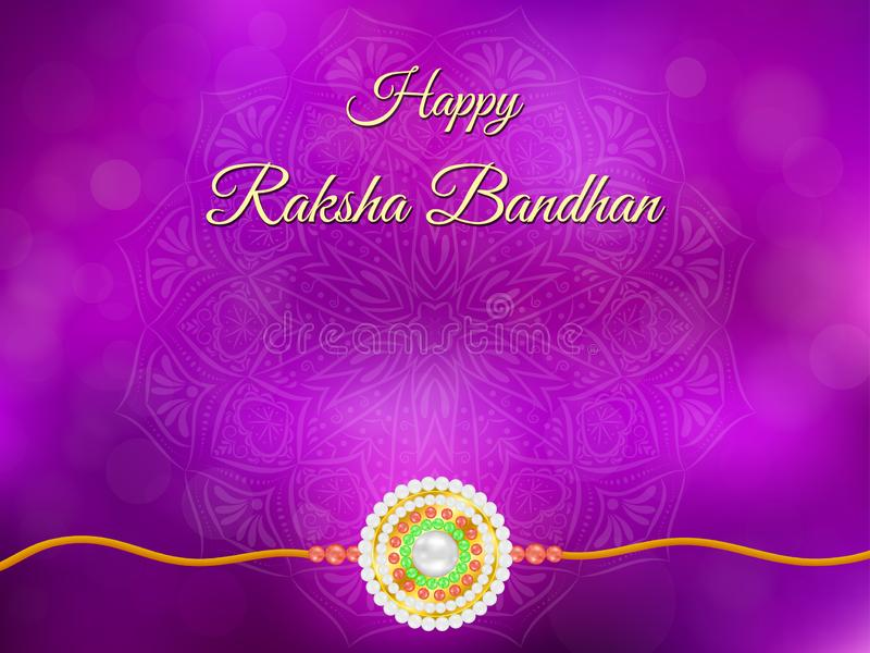 Ευτυχές υπόβαθρο Raksha Bandhan με το mandala και το rakhi διανυσματική απεικόνιση