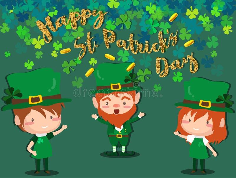 Ευτυχές φεστιβάλ ημέρας Αγίου Πάτρικ ` s Ιρλανδικός εορτασμός Πράσινα φύλλα τριφυλλιών τριφυλλιού στο υπόβαθρο απομονώσεων για τη διανυσματική απεικόνιση