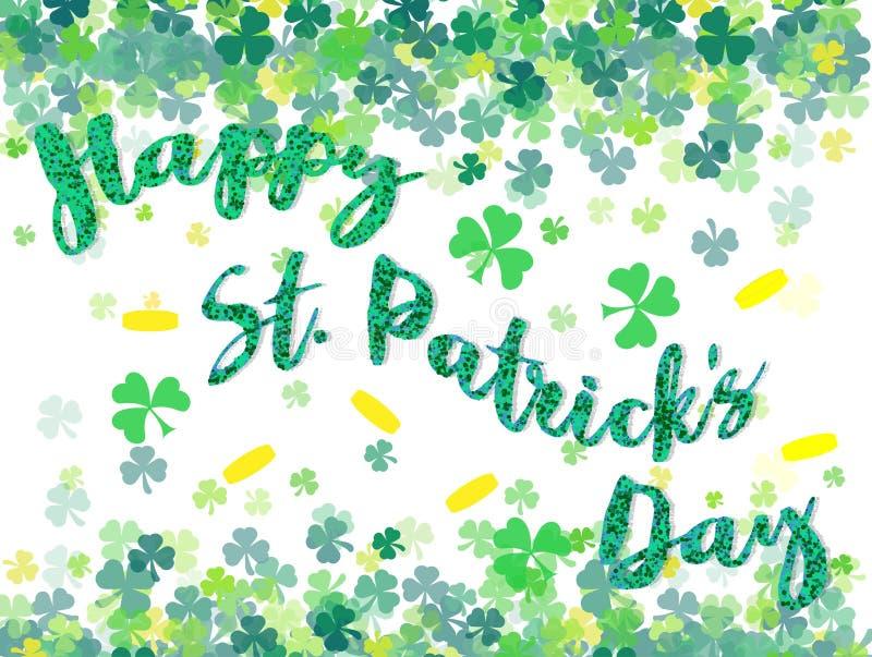 Ευτυχές φεστιβάλ ημέρας Αγίου Πάτρικ ` s Ιρλανδικός εορτασμός Πράσινα φύλλα τριφυλλιών τριφυλλιού στο υπόβαθρο απομονώσεων για τη ελεύθερη απεικόνιση δικαιώματος