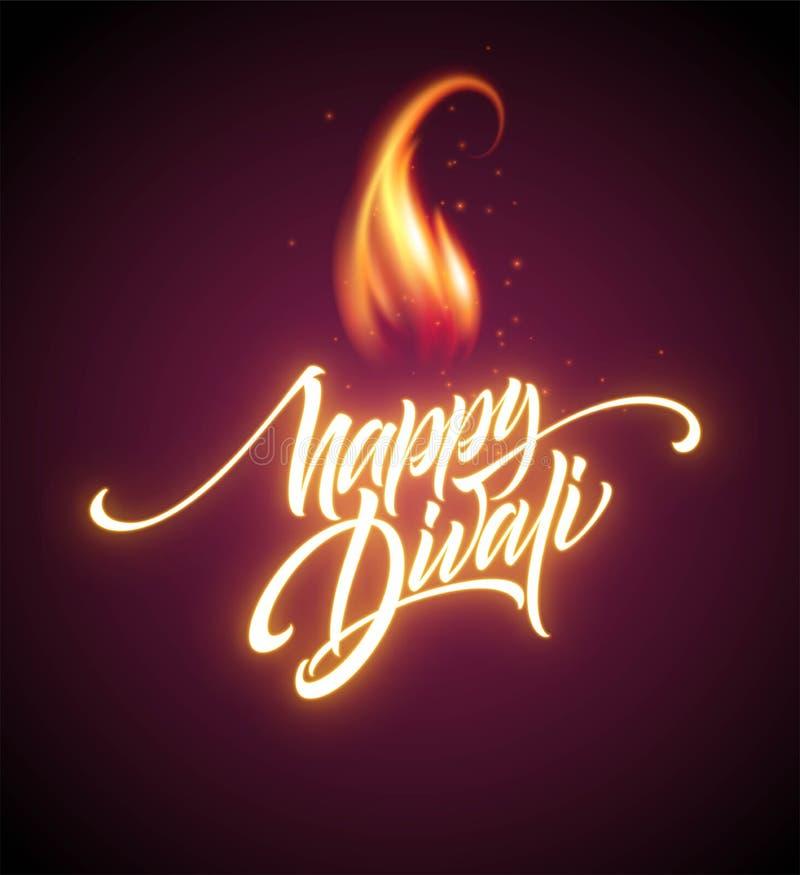 Ευτυχές φεστιβάλ Diwali φωτεινό Καμμένος στοιχείο σχεδίου επιστολών φλογών επίσης corel σύρετε το διάνυσμα απεικόνισης απεικόνιση αποθεμάτων