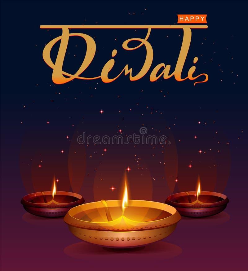 Ευτυχές φεστιβάλ Diwali των φω'των Αναδρομική ελαιολυχνία στο νυχτερινό ουρανό υποβάθρου με τα αστέρια ελεύθερη απεικόνιση δικαιώματος