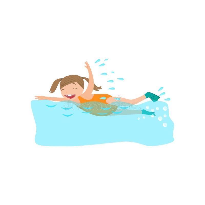 Ευτυχές χαμογελώντας κορίτσι που κολυμπά στα βατραχοπέδιλα στη λίμνη ελεύθερη απεικόνιση δικαιώματος