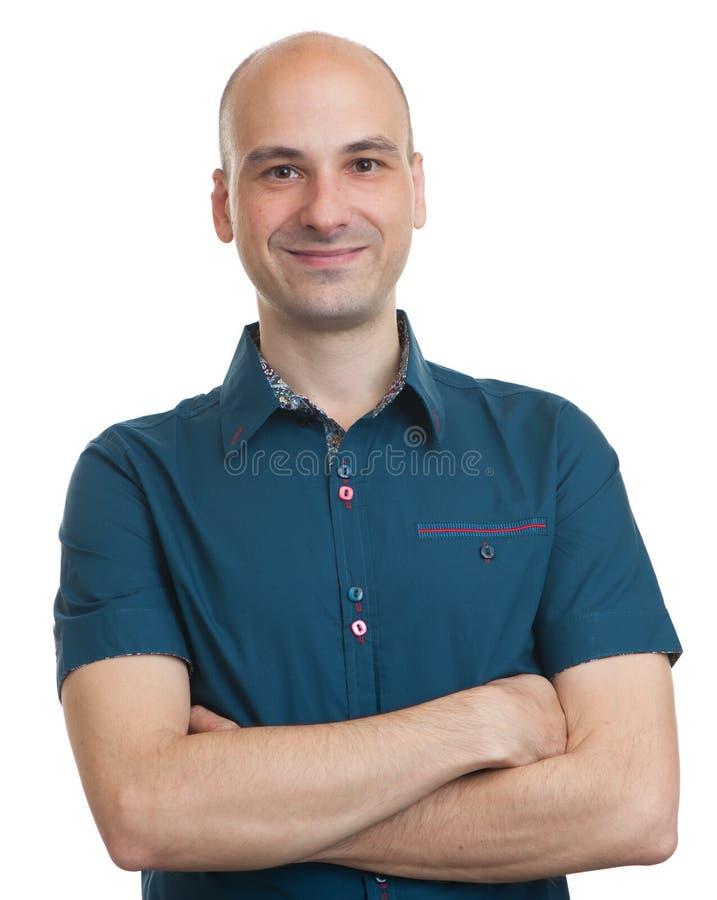Ευτυχές χαμογελώντας φαλακρό άτομο στοκ εικόνα με δικαίωμα ελεύθερης χρήσης