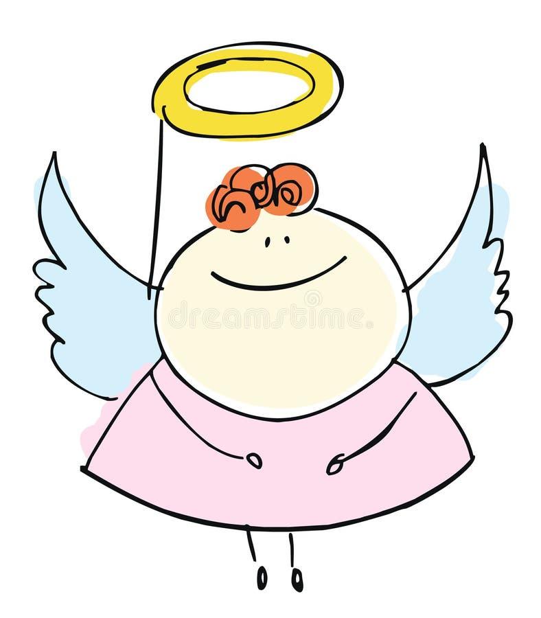 Ευτυχές χαμόγελο παιδιών κοριτσιών αγγέλου sweetie με τα φτερά - κινούμενα σχέδια peop διανυσματική απεικόνιση