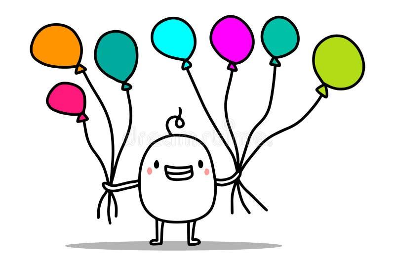 Ευτυχές χαριτωμένο άτομο κινούμενων σχεδίων που κρατά τα ζωηρόχρωμα μπαλόνια αέρα Διανυσματική χρόνια πολλά κάρτα διανυσματική απεικόνιση