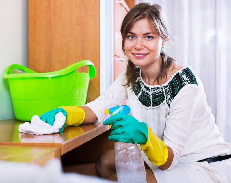 Ευτυχές χαρούμενο ενήλικο brunette που ξεσκονίζει με το μέσο καθαρισμού στοκ φωτογραφία με δικαίωμα ελεύθερης χρήσης