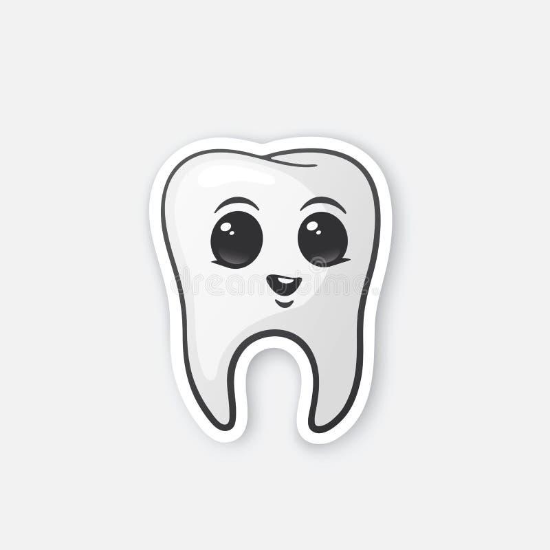 Ευτυχές δόντι αυτοκόλλητων ετικεττών με τα μάτια ελεύθερη απεικόνιση δικαιώματος