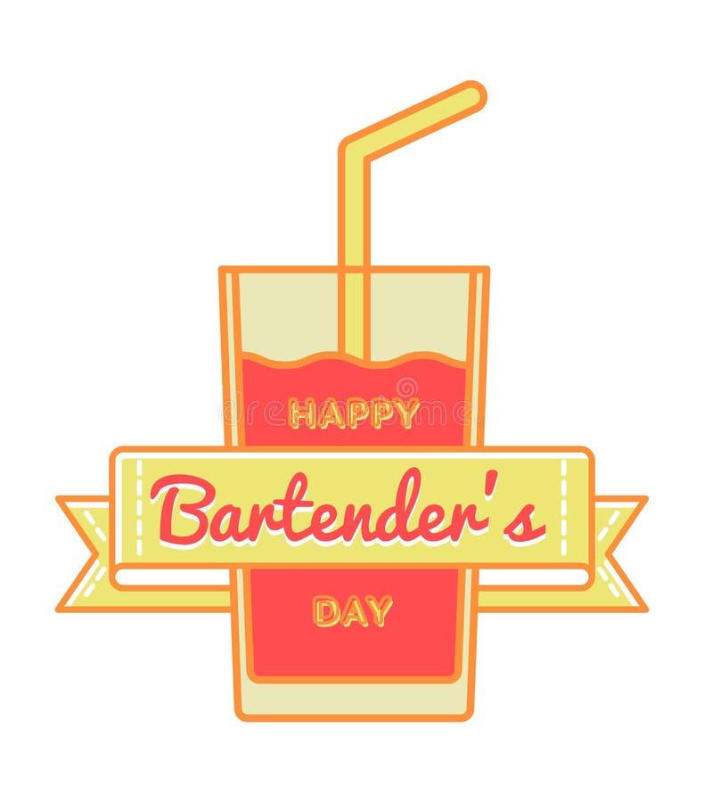 Ευτυχές Bartenders έμβλημα χαιρετισμού ημέρας στοκ εικόνες