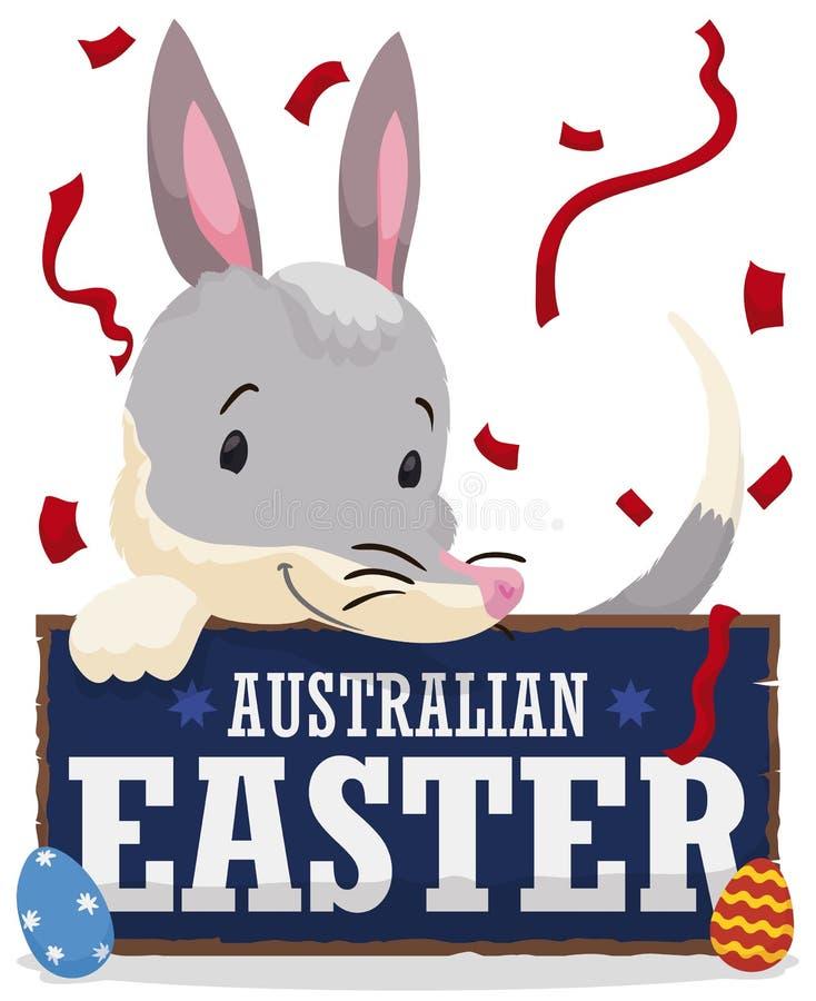 Ευτυχές Bilby που κρατά ένα σημάδι χαιρετισμού για αυστραλιανό Πάσχα, διανυσματική απεικόνιση απεικόνιση αποθεμάτων