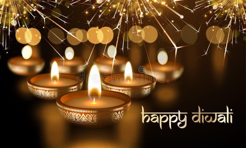 Ευτυχές Diwali ινδικό κεριών φω'των φεστιβάλ σανσκριτικό κείμενο ευχετήριων καρτών διακοπών διανυσματικό διανυσματική απεικόνιση