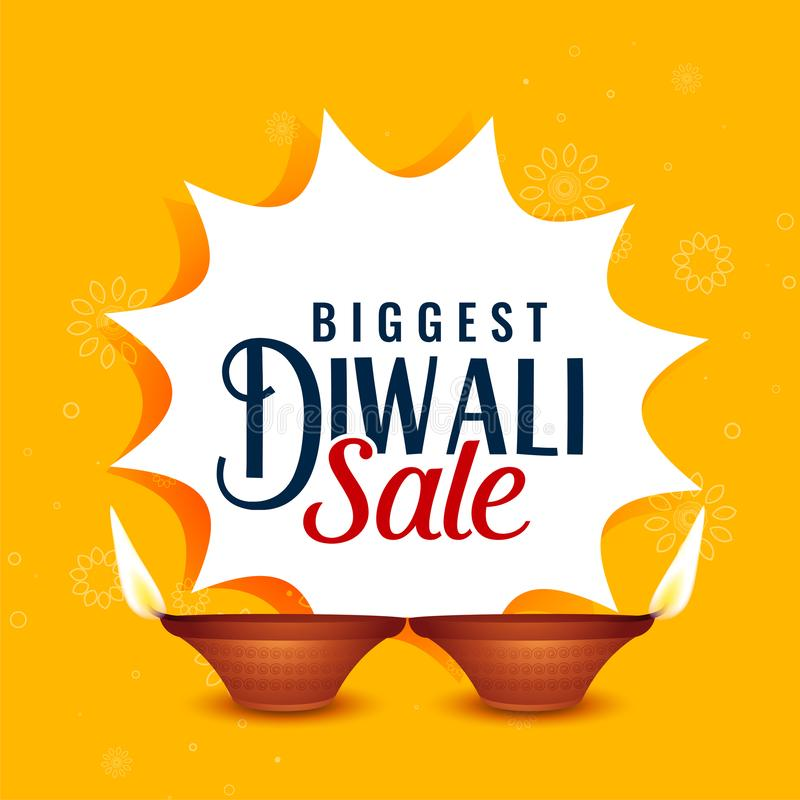 Ευτυχές diwali σχέδιο εμβλημάτων πώλησης κίτρινο ελεύθερη απεικόνιση δικαιώματος