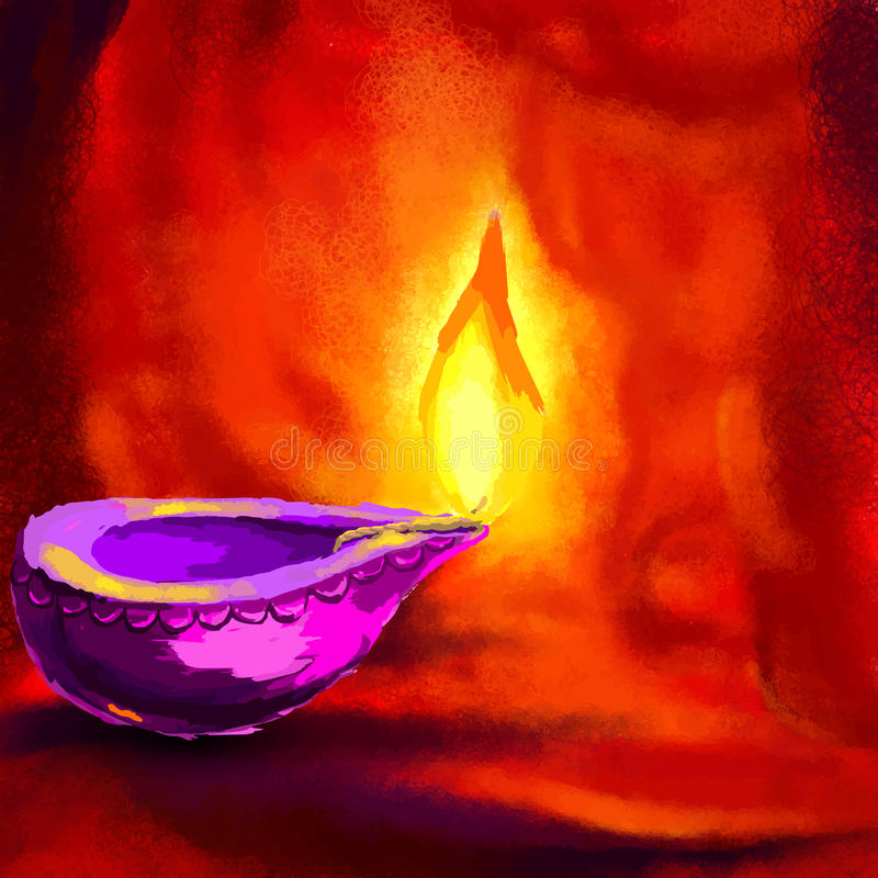 Ευτυχές Diwali Diya ελεύθερη απεικόνιση δικαιώματος