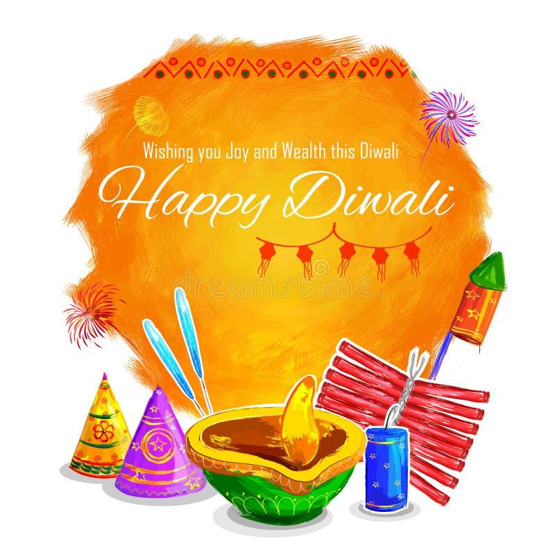 Ευτυχές Diwali diya watercolor υποβάθρου coloful απεικόνιση αποθεμάτων