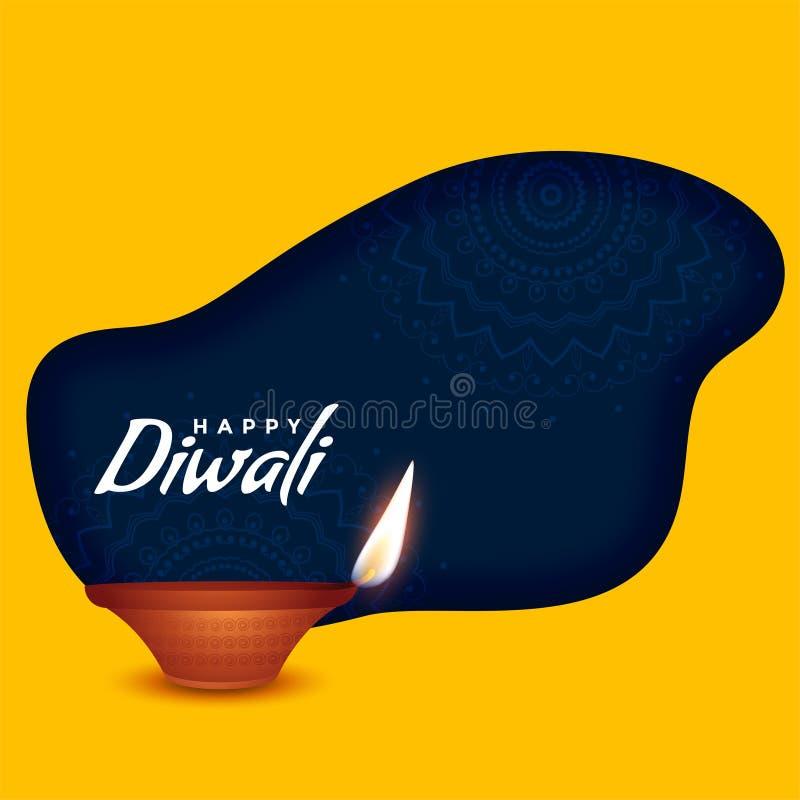 Ευτυχές diya καψίματος diwali στο κίτρινο υπόβαθρο ελεύθερη απεικόνιση δικαιώματος