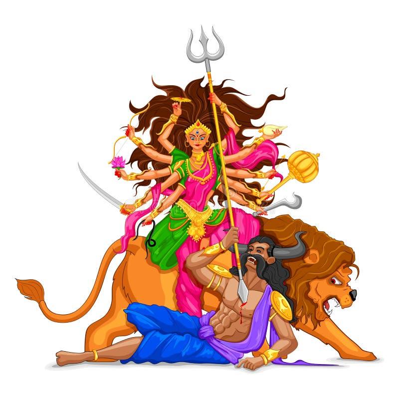 Ευτυχές Dussehra με τη θεά Durga ελεύθερη απεικόνιση δικαιώματος