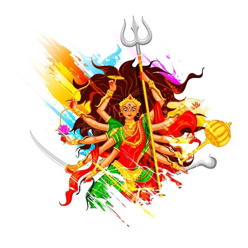Ευτυχές Dussehra με τη θεά Durga διανυσματική απεικόνιση