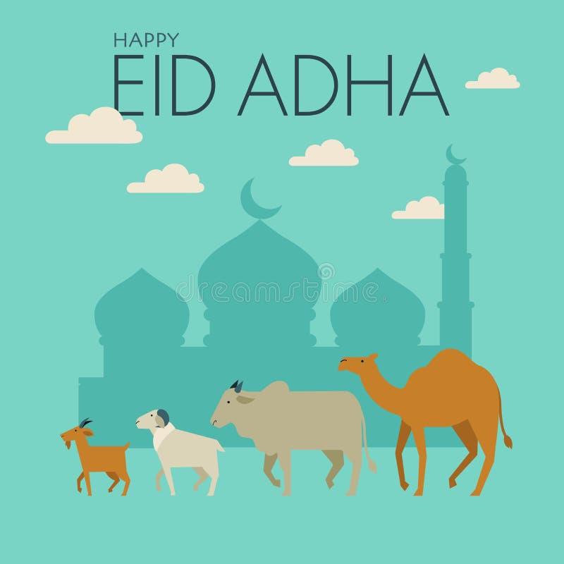 Ευτυχές Eid Al-Adha Εορτασμός των μουσουλμανικών διακοπών ελεύθερη απεικόνιση δικαιώματος