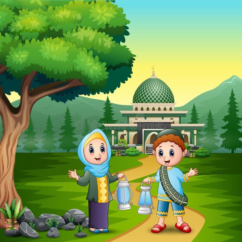 Ευτυχές eid Mubarak με το ζεύγος μουσουλμάνος που κρατά το φανάρι απεικόνιση αποθεμάτων