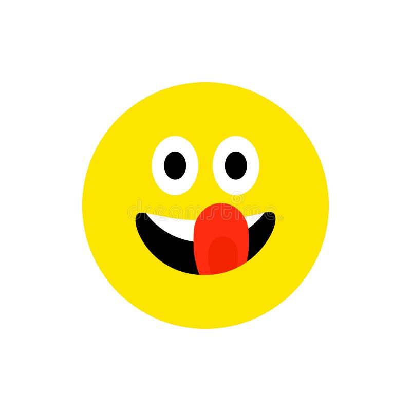 Ευτυχές emoji χαμόγελου προσώπου με το ανοικτό στόμα Αστείο επίπεδο ύφος χαμόγελου Χαριτωμένο σύμβολο Emoticon Smiley, εικονίδιο  ελεύθερη απεικόνιση δικαιώματος
