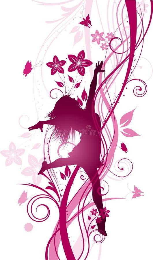 Ευτυχές floral θηλυκό διανυσματική απεικόνιση